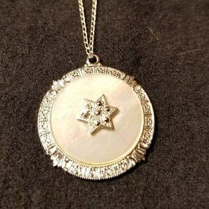 Sterling MOP Marcasite Star of David Pendant